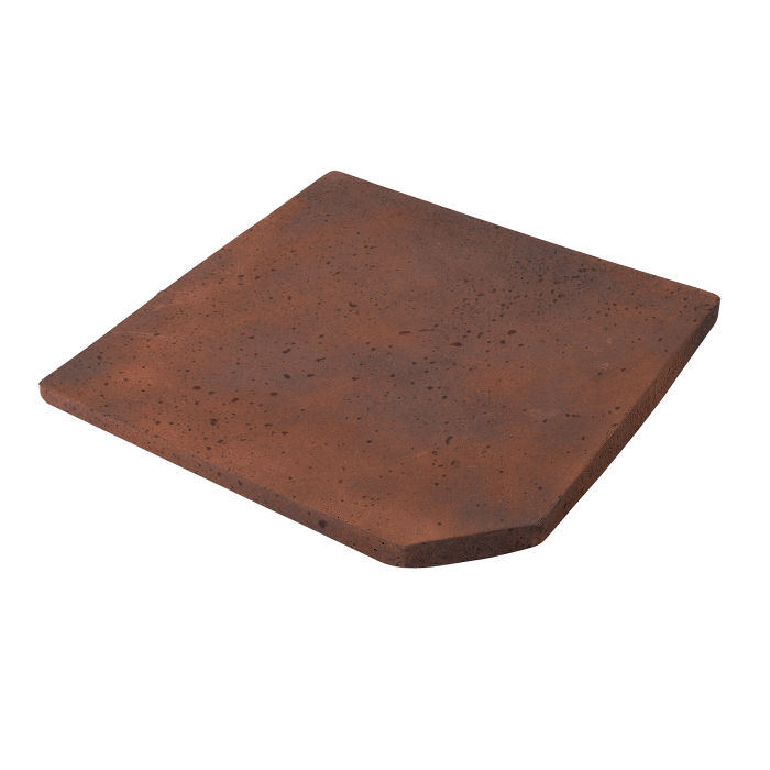 8x8 Artillo Clipped Corner Red Flash Travertine