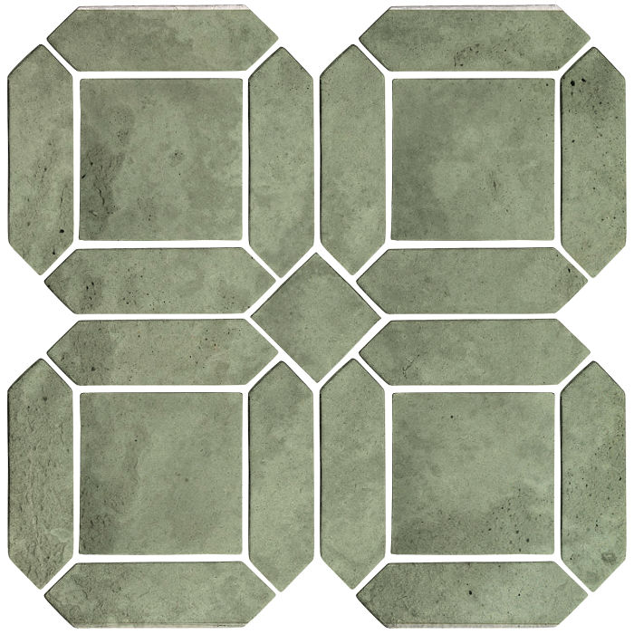 3x11 Artillo Double Picket Set Ocean Green Light Limestone