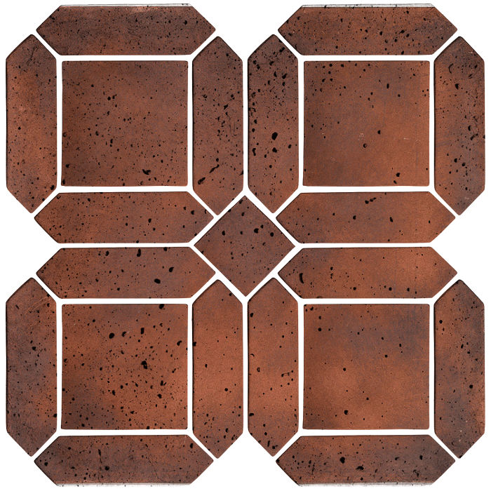 3x11 Artillo Double Picket Set Red Flash Travertine