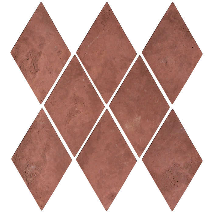 3x5 Mini Diamond Spanish Inn Red Limestone