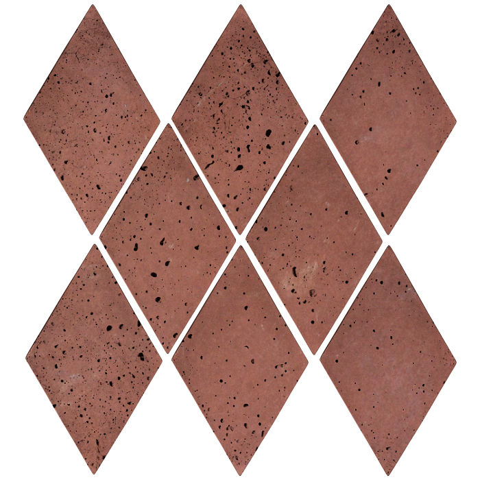 3x5 Mini Diamond Spanish Inn Red Travertine