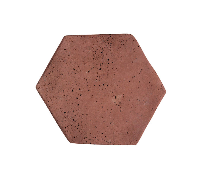 6x6 Artillo Hexagon Spanish Inn Red Travertine
