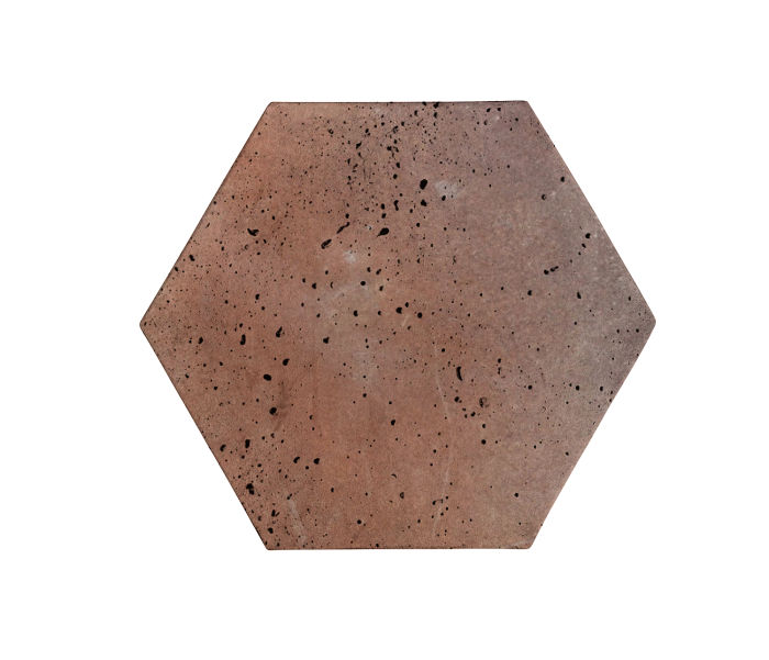 8x8 Artillo Hexagon Beachwood Flash Travertine