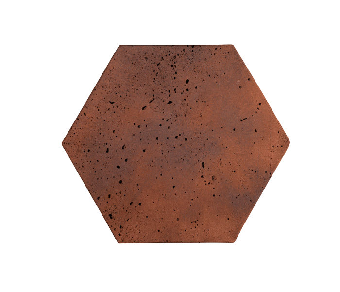 8x8 Artillo Hexagon Red Flash Travertine
