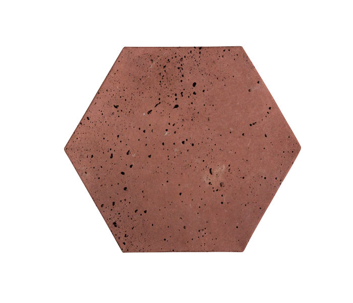 8x8 Artillo Hexagon Spanish Inn Red Travertine