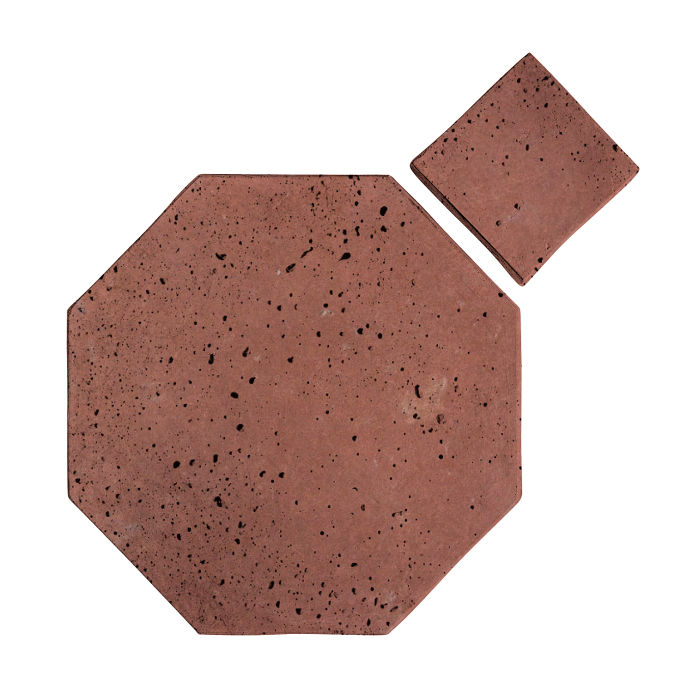 8x8 Artillo Octagon Set Spanish Inn Red Travertine