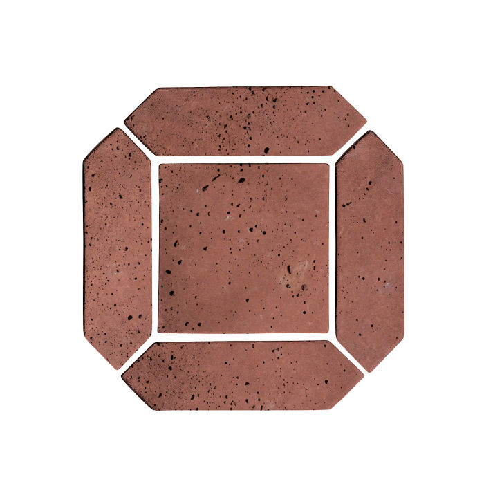 3x11 Artillo Picket Set Spanish Inn Red Travertine