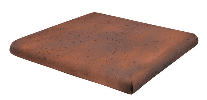 12x12 Artillo Stairtread Corner Red Flash Travertine
