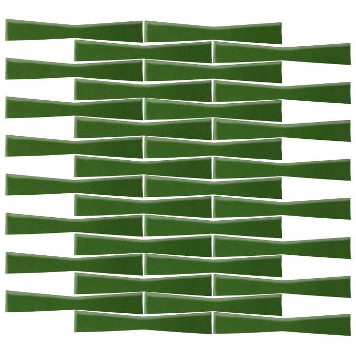 2x12 Ceramic Bowtie Lucky Green 7734c