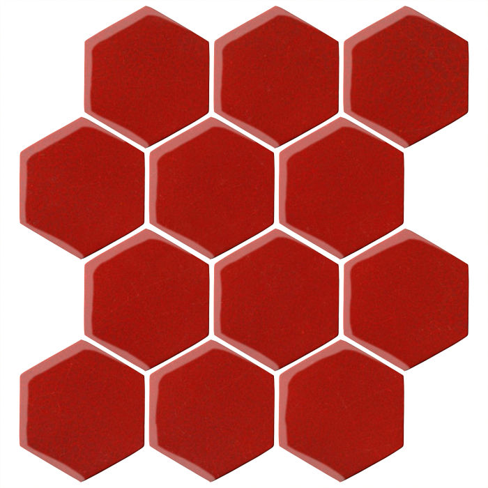 4x4 Oleson Hexagon Brick Red 7624c