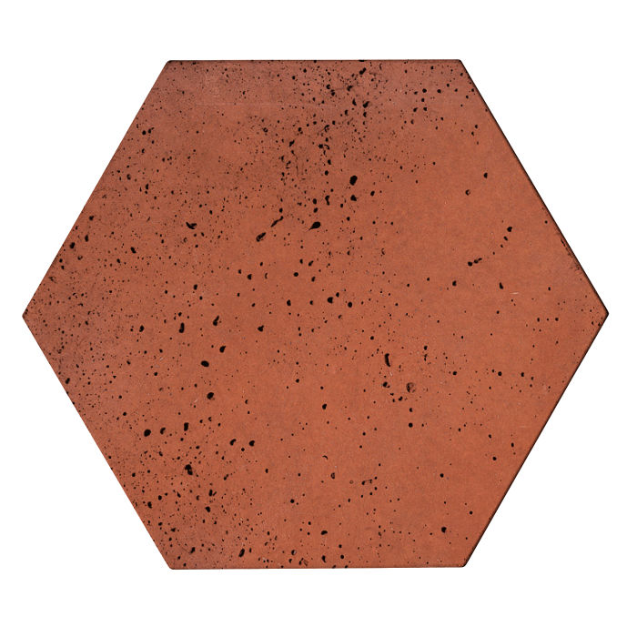 8x8 Roman Tile Hexagon Mission Red Travertine
