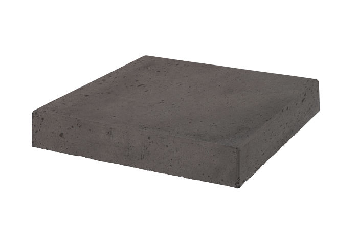 18x18 Roman Tile Stairtread Corner Charcoal Luna