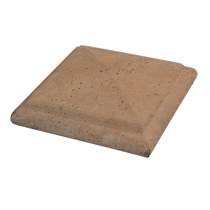 Roman Peaked Pier Cap 22x22 Gold Travertine