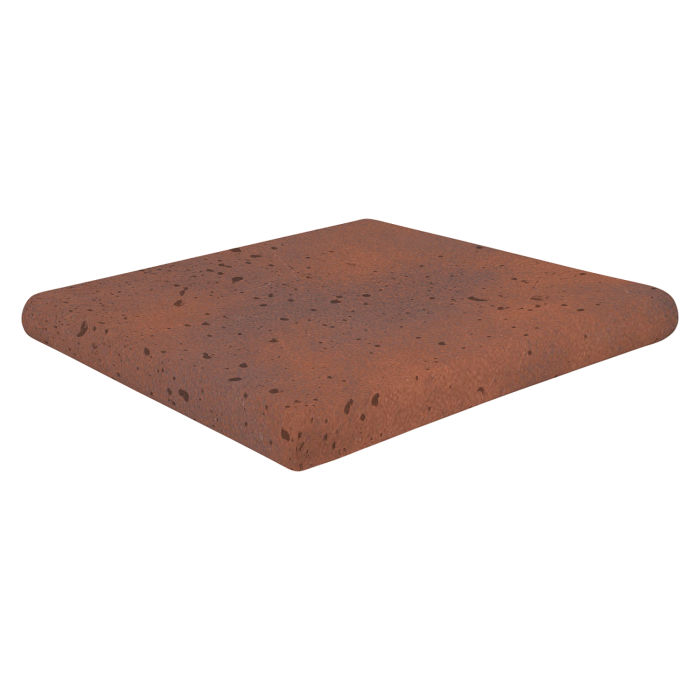 12x12 Super Artillo Stairtread Corner Red Flash Travertine